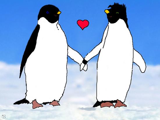 'McShepguins - holding hands' by Bluespirit